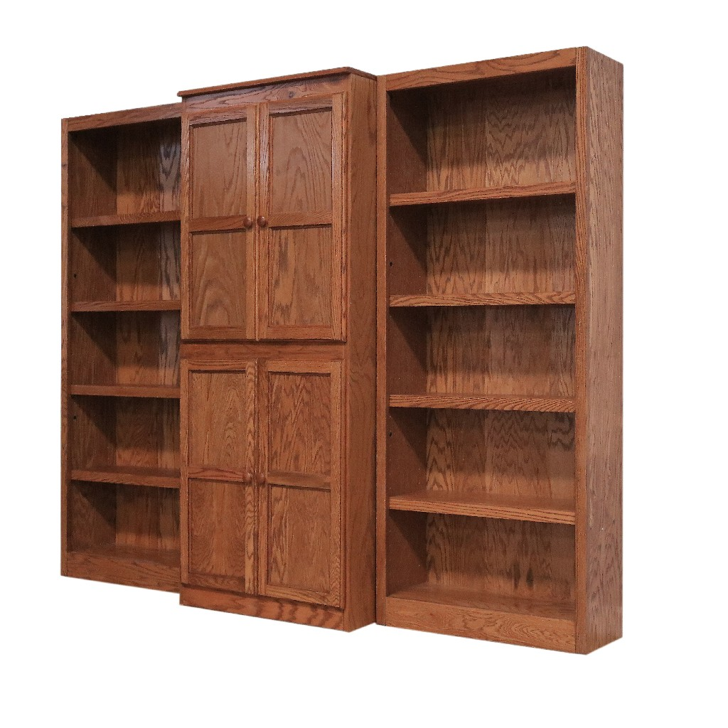 15 Shelf Bookcase Wall with Doors, 72 inch Tall, Oak Finish - Concepts in Wood WKT3072-D