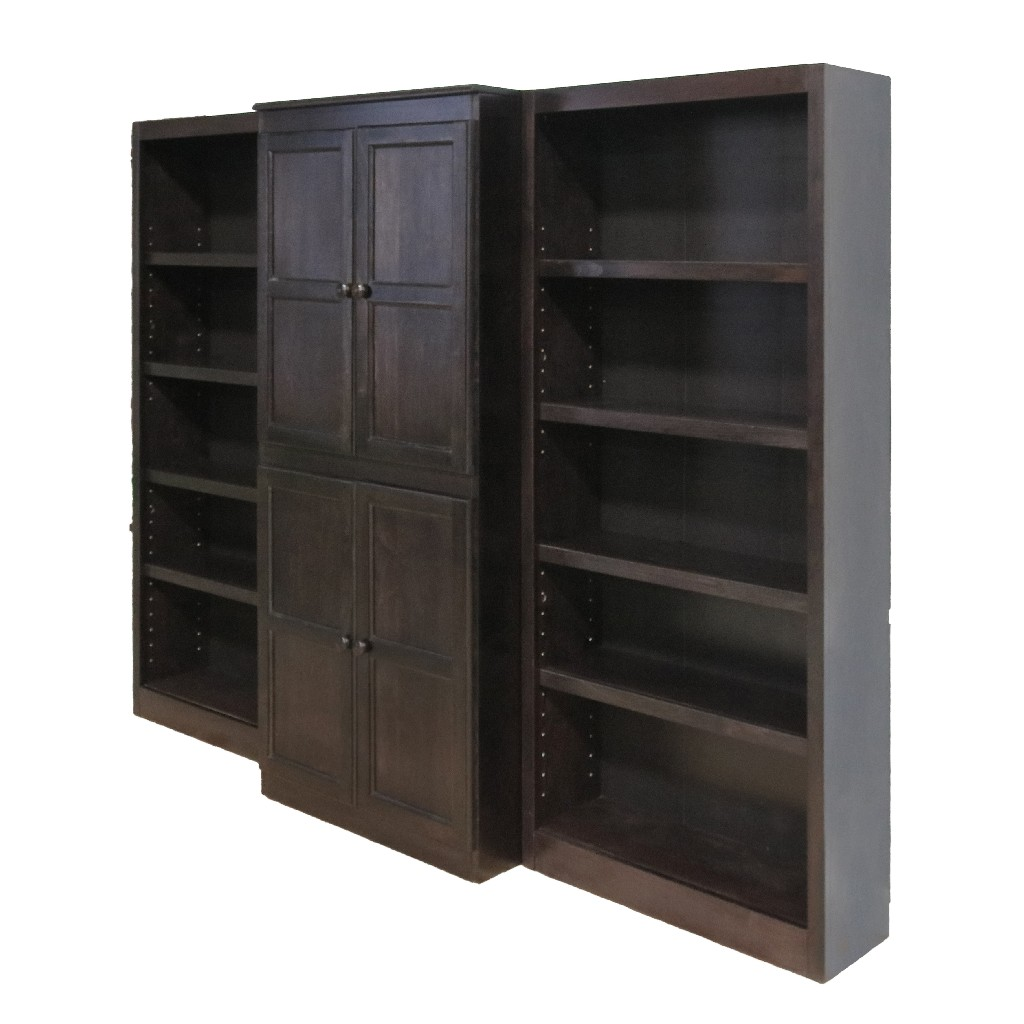 15 Shelf Bookcase Wall with Doors, 72 inch Tall, Espresso Finish - Concepts in Wood WKT3072-E