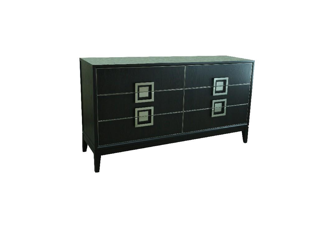 Barbara Black 6 Drawer Dresser - Best Master Furniture 229-B1009D Image