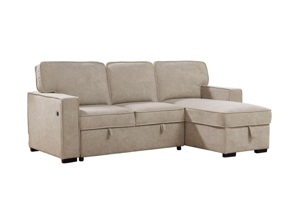 Best Master Furniture Zakaria 92 inch Linen Adjustable Sleeper Sectional in Beige - BL101B