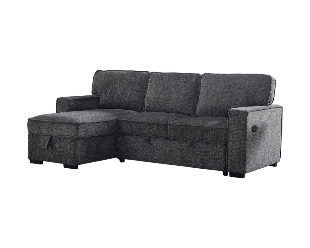 Best Master Furniture Zakaria 92 inch Linen Adjustable Sleeper Sectional in Grey - BL101G