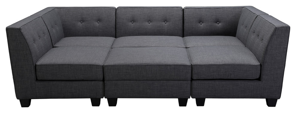 Best Master Furniture Crux 6-Piece Modular Gray Fabric Living Room Sectional - R1686