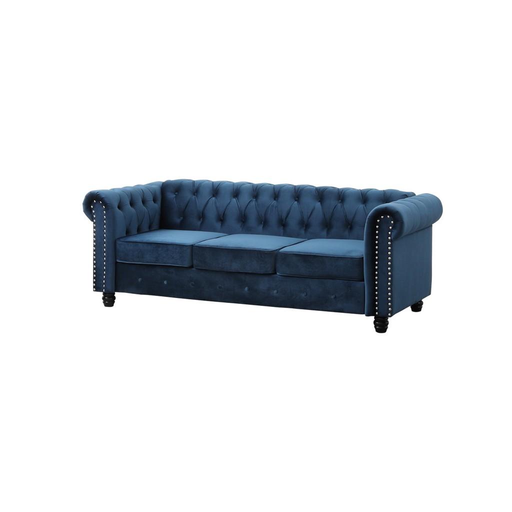 Best Master Furniture Venice 82 inch Tufted Velvet Sofa in Blue - YS001VBLS