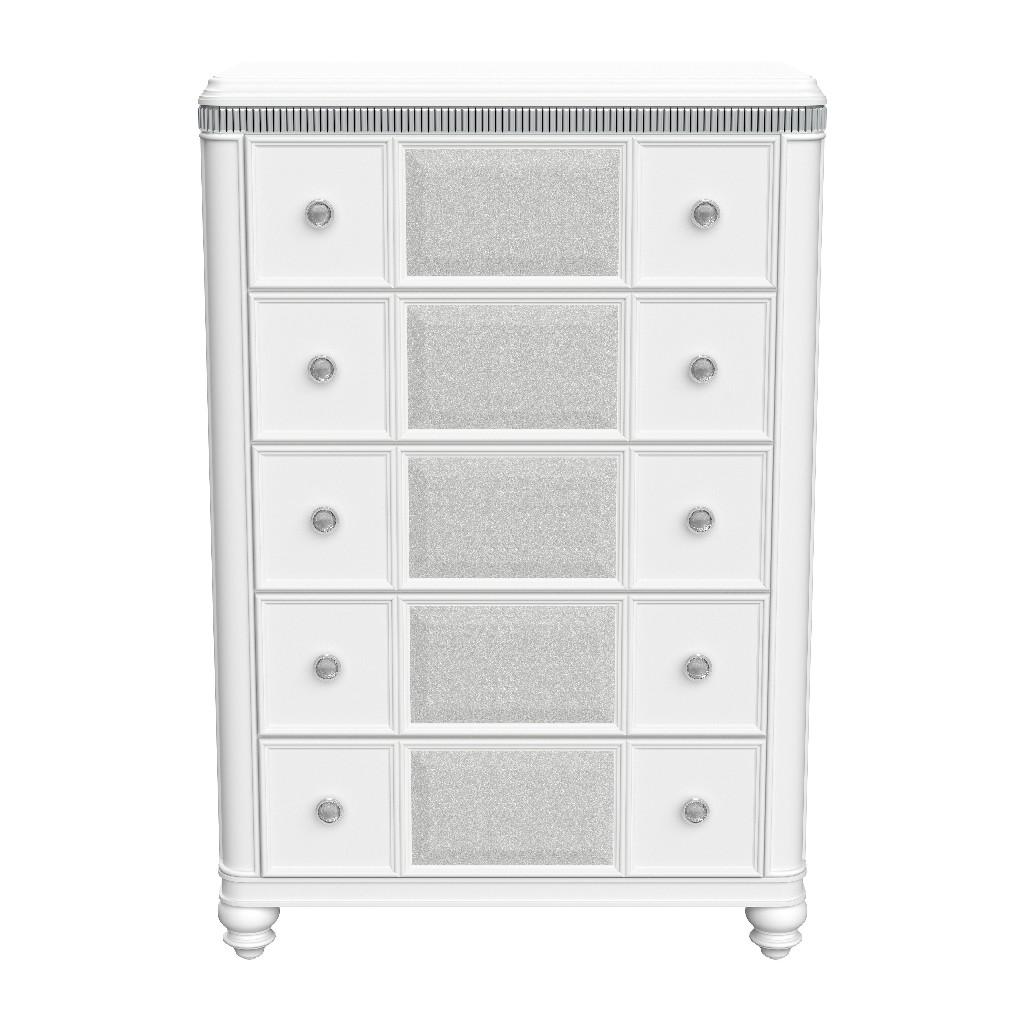 Chest in White/Silver - Global Furniture USA CASSIE-WHITE/SILVER-CH