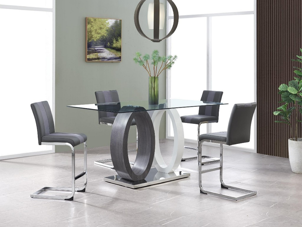 Bar Table in White & Grey - Global Furniture USA D1628BT