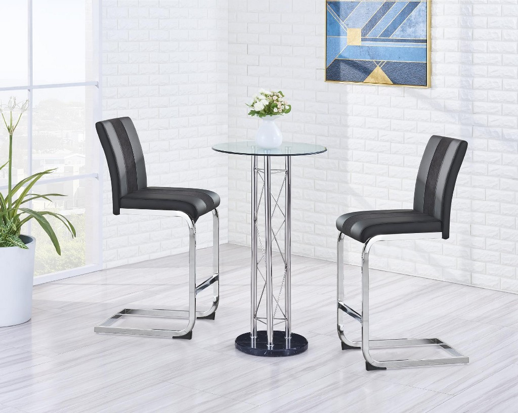 Bar Table in Silver & Clear - Global Furniture USA M208BT (M)