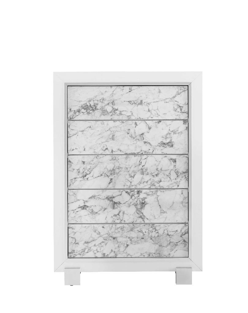 Chest in White - Global Furniture USA SANTORINI-METALLIC WHITE-CH