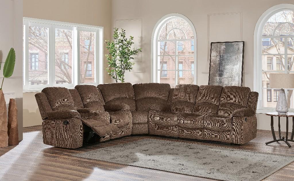 3Pc Sectional in Brown - Global Furniture USA U3118C-SUBARU COFFEE-SECTIONAL