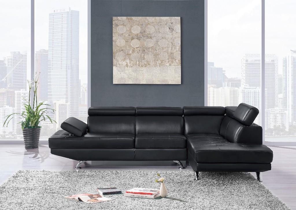 2Pc Sectional Black in Black - Global Furniture USA U9782N-BL-SECTIONAL (M)