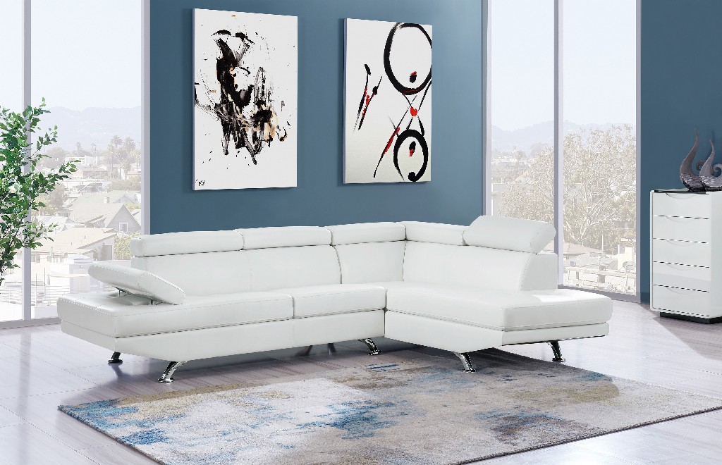 2Pc Sectional White in White - Global Furniture USA U9782N-WH-SECTIONAL (M)