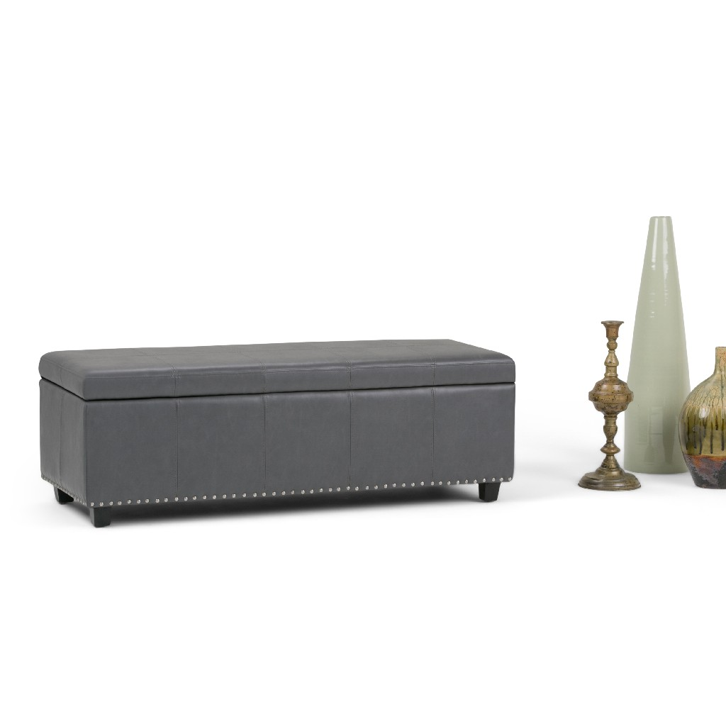 Simpli Home Kingsley 48 inch Wide Transitional Rectangle Large Storage Ottoman in Stone Grey Faux Leather - 3AXCOT-240-G