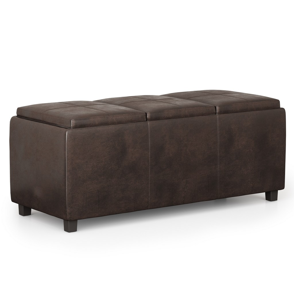 Avalon Storage Ottoman In Distressed Brown Faux Air Leather - Simpli Home Avaotbnch02-dbr