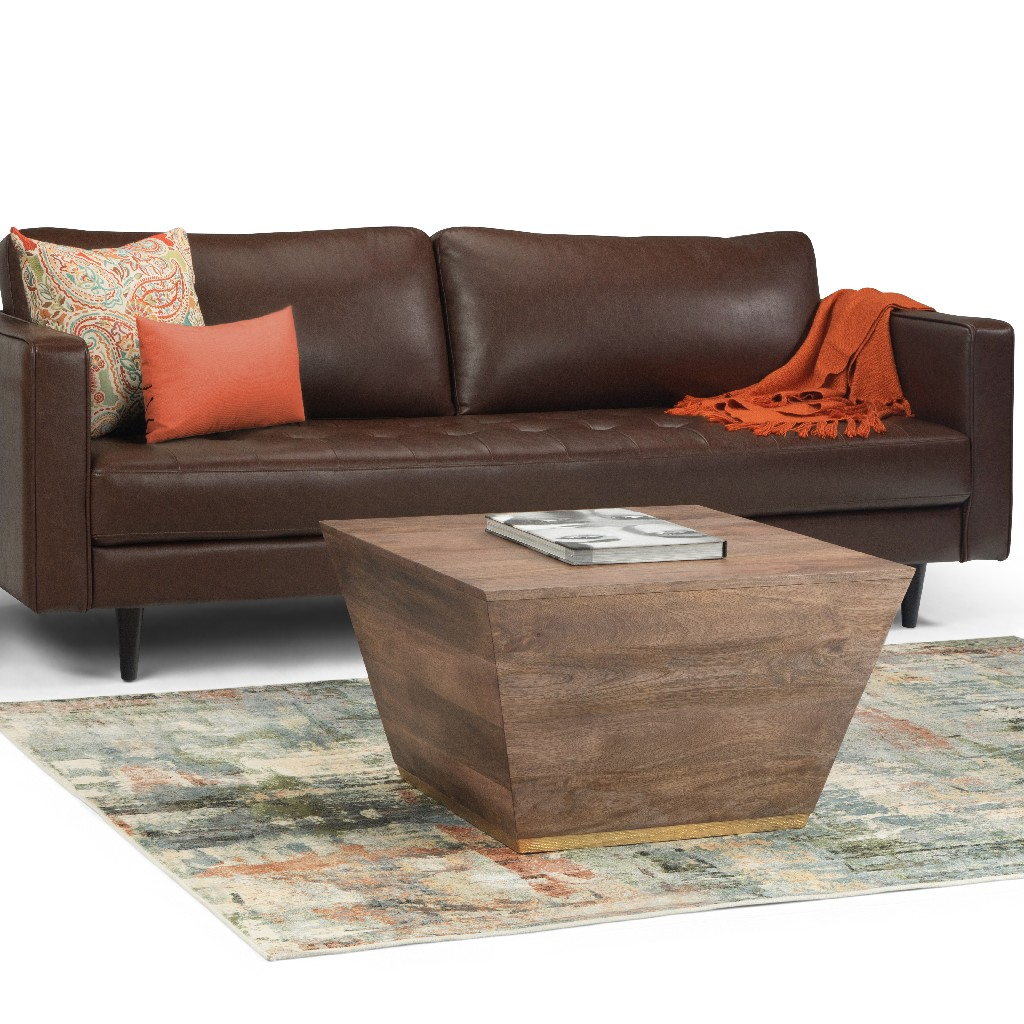 Abba SOLID MANGO WOOD 28 inch Wide Square Modern Coffee Table in Dark Brown, Fully Assembled - Simpli Home AXCABB-01