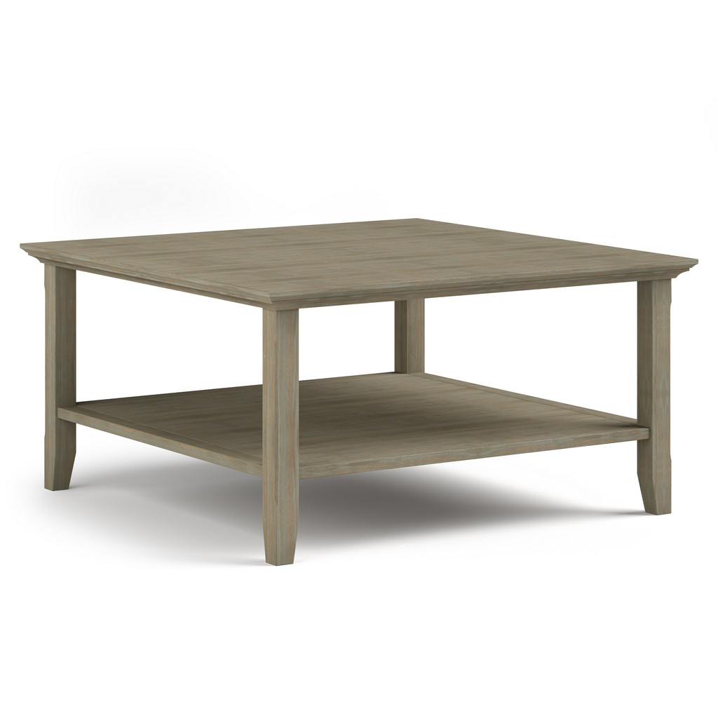 Acadian SOLID WOOD 36 inch Wide Square Rustic Coffee Table in Distressed Grey - Simpli Home AXCACA02-GR