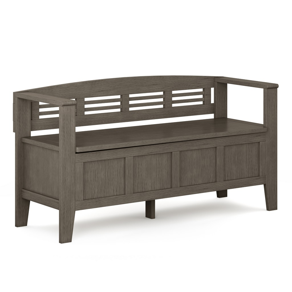 Adams SOLID WOOD 48 inch Wide Rustic Entryway Storage Bench in Farmhouse Grey - Simpli Home AXCADABEN-FG
