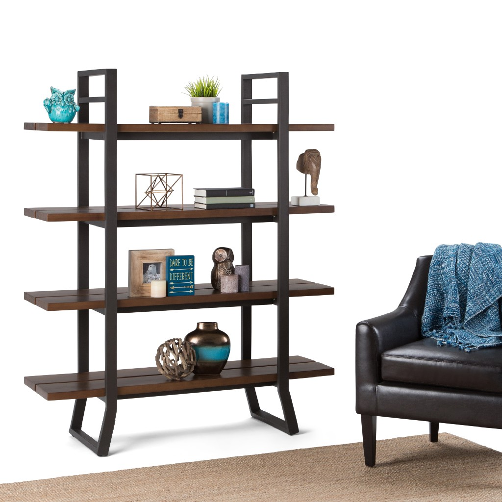 Adler SOLID WOOD and Metal 66 inch x 54 inchRectangle Modern Industrial Bookcase in Light Walnut Brown - Simpli Home AXCADR-12