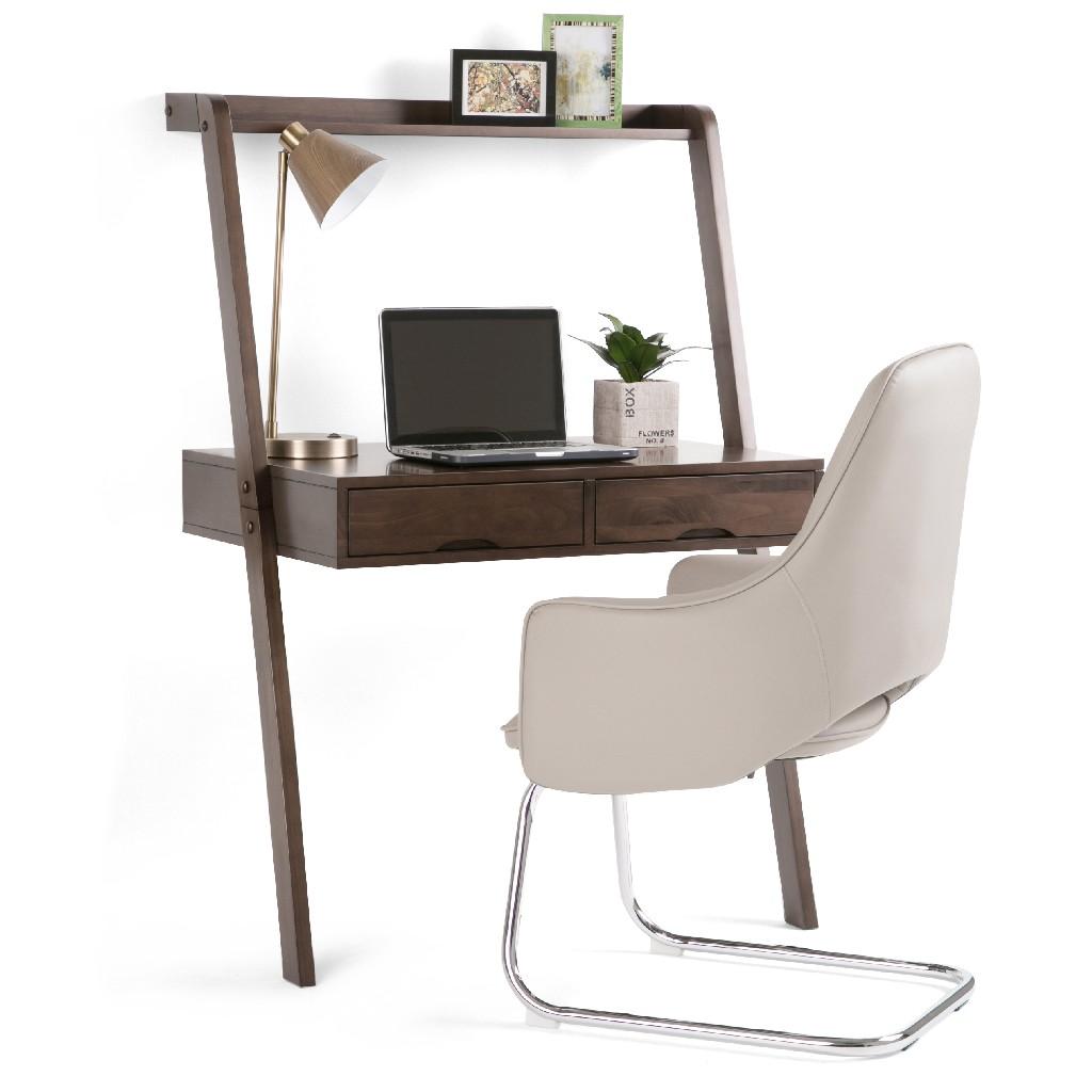 Aleck SOLID WOOD Rustic 36 inch Wide Modern Leaning Desk in Warm Walnut Brown - Simpli Home AXCALK-14