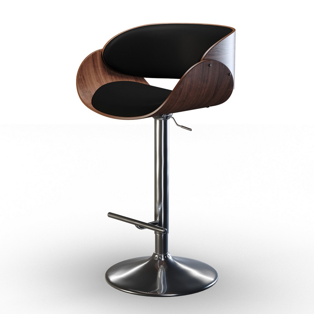 Amery Mid Century Modern Adjustable Swivel Bar Stool in Black Faux Leather - Simpli Home AXCAMEBS-BL