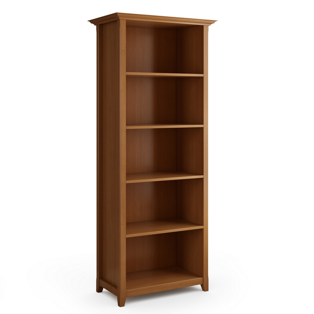 Amherst Solid Wood 5 Shelf Bookcase in Light Golden Brown - Simpli Home AXCAMH09-LGB