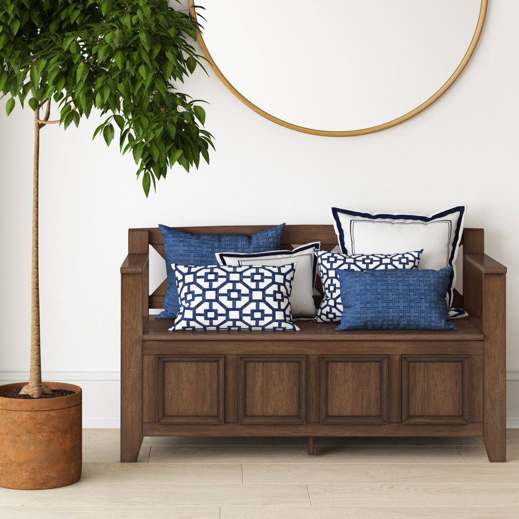 Amherst Storage Bench in Rustic Natural Aged Brown - Simpli Home AXCAMH13-RNAB