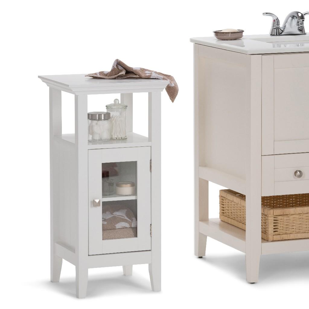 Acadian Floor Storage Cabinet in White - Simpli Home AXCBCACA-01