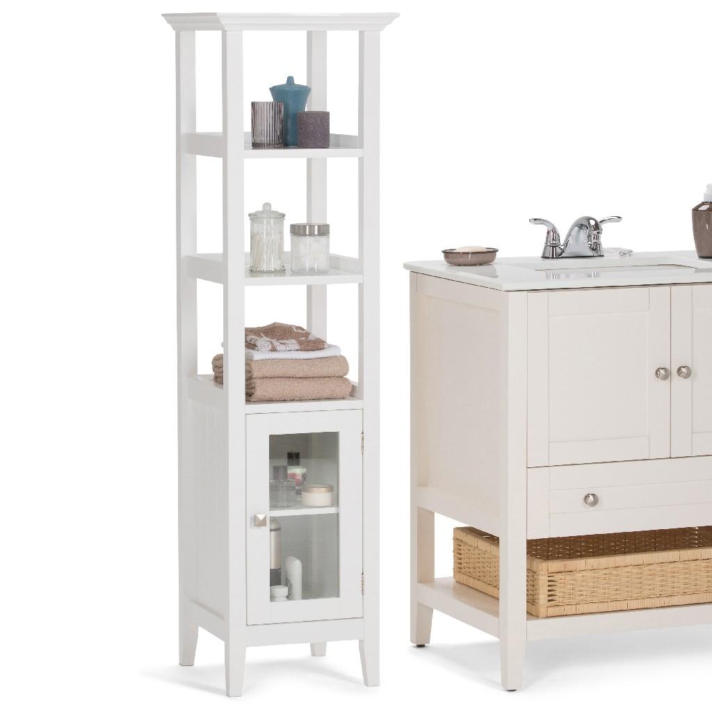 Acadian 56.1 inch H x 15.75 inch W Bath Storage Tower Bath Cabinet in White - Simpli Home AXCBCACA-05