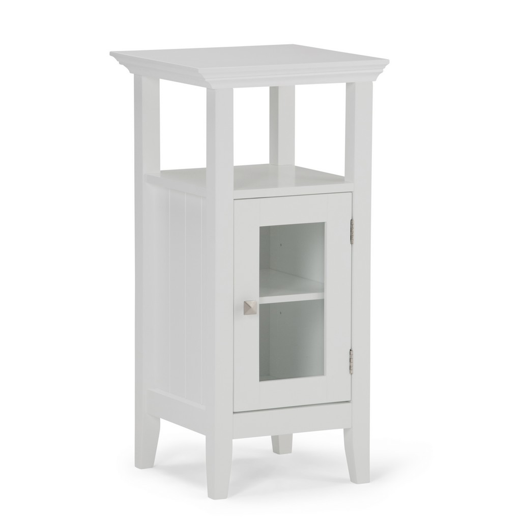 Acadian 30 inch H x 15 inch W Floor Storage Bath Cabinet in Pure White - Simpli Home AXCBSACA01-WH