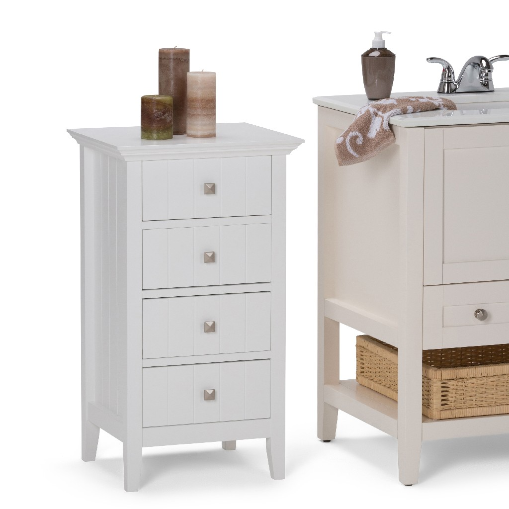 Acadian Four Drawer Floor Storage Cabinet in Pure White - Simpli Home AXCBSACA02-WH