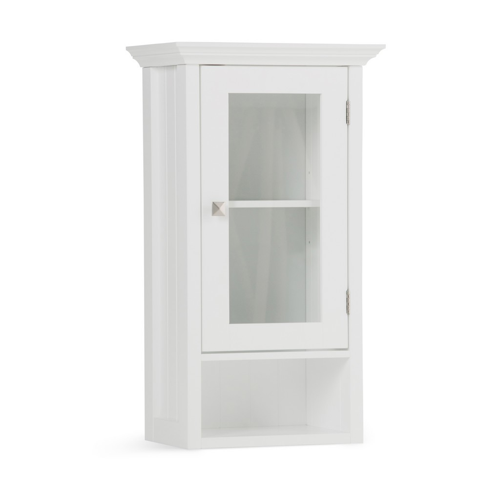 Acadian 28 inch H x 15.75 inch W Single Door Wall Bath Cabinet in Pure White - Simpli Home AXCBSACA03-WH