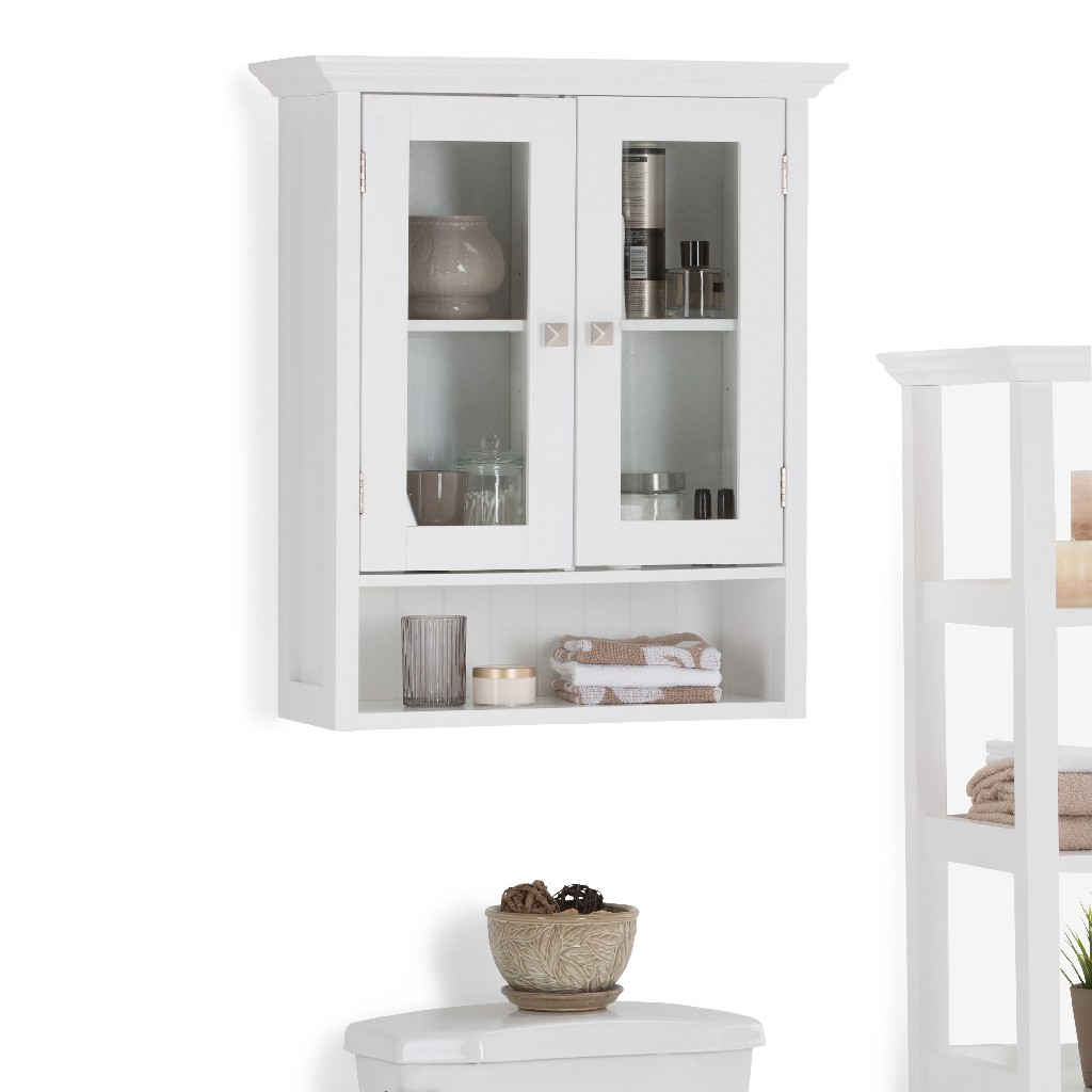 Acadian 28 inch H x 23.6 inch W Double Door Wall Bath Cabinet in Pure White - Simpli Home AXCBSACA04-WH