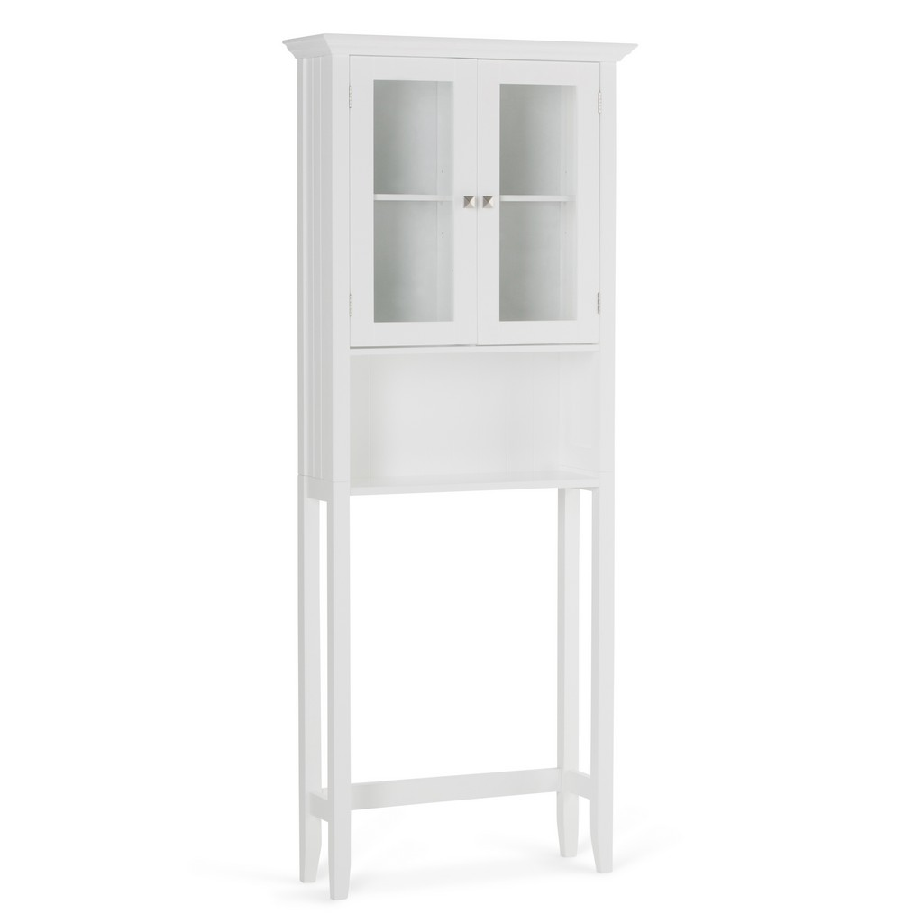 Acadian 68.4 inch H x 27.6 inch W Over The Toilet Space Saver Bath Cabinet in Pure White - Simpli Home AXCBSACA07-WH