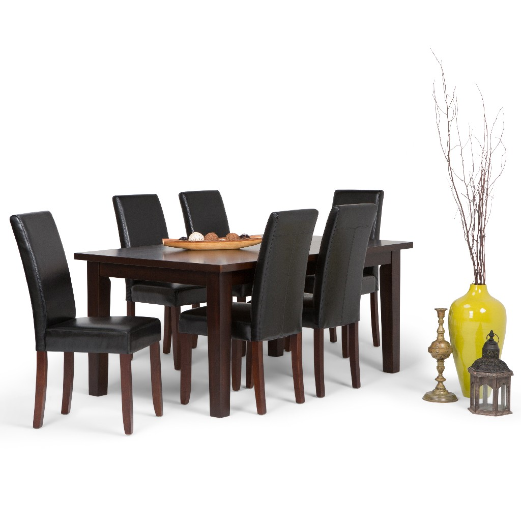 Acadian Contemporary 7 Pc Dining Set with 6 Upholstered Parson Chairs in Midnight Black Faux Leather and 66 inch Wide Table - Simpli Home AXCDS7-ACA-BL