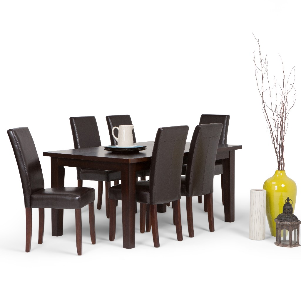 Acadian Contemporary 7 Pc Dining Set with 6 Upholstered Parson Chairs in Tanners Brown Faux Leather and 66 inch Wide Table - Simpli Home AXCDS7-ACA-BR