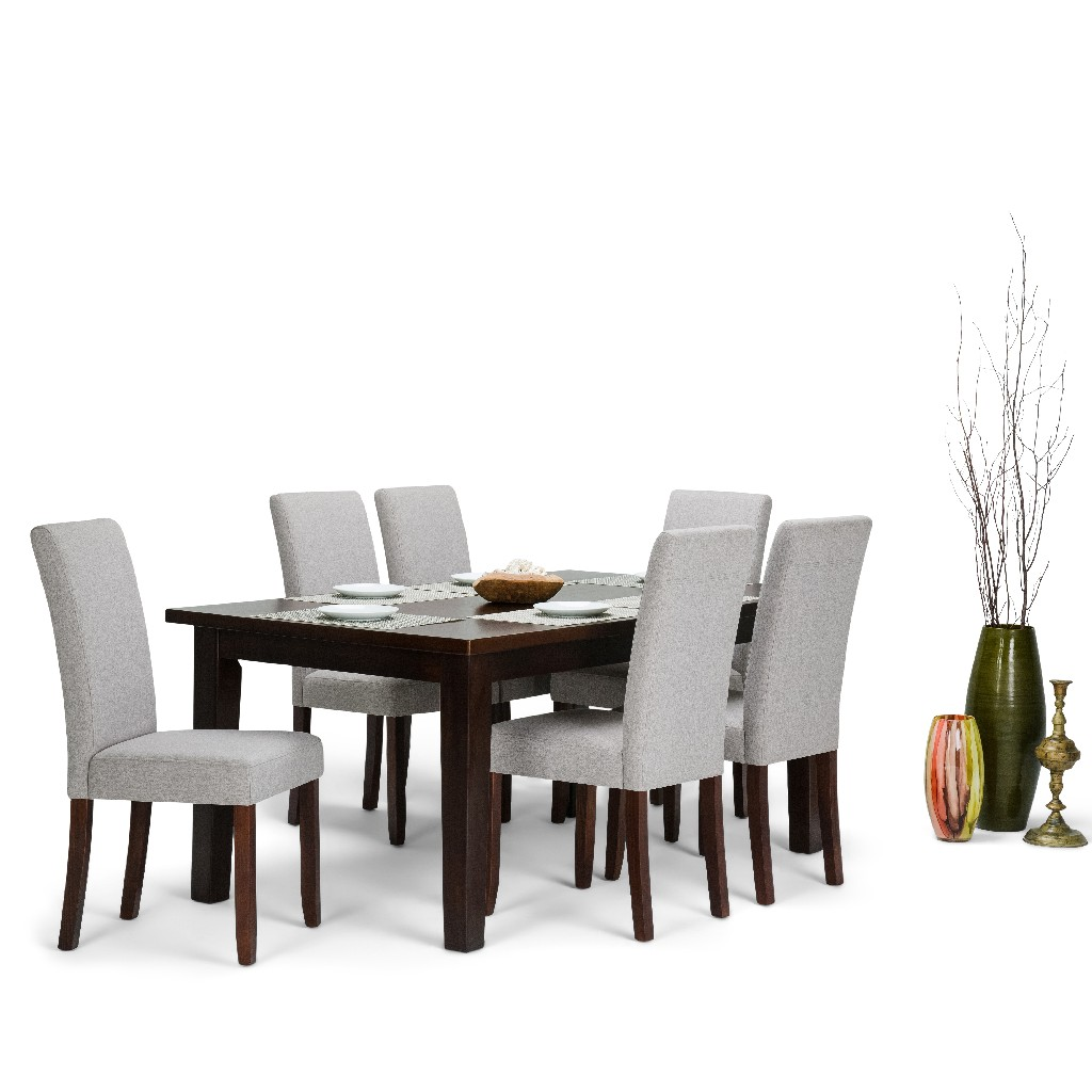 Acadian Contemporary 7 Pc Dining Set with 6 Upholstered Parson Chairs in Cloud Grey Linen Look Fabric and 66 inch Wide Table - Simpli Home AXCDS7-ACA-CLG