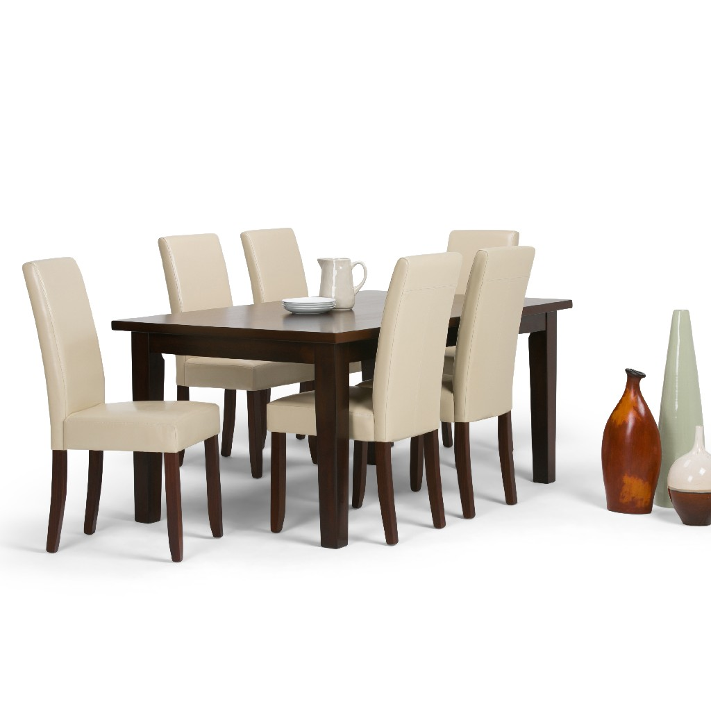 Acadian Contemporary 7 Pc Dining Set with 6 Upholstered Parson Chairs in Satin Cream Faux Leather and 66 inch Wide Table - Simpli Home AXCDS7-ACA-CR
