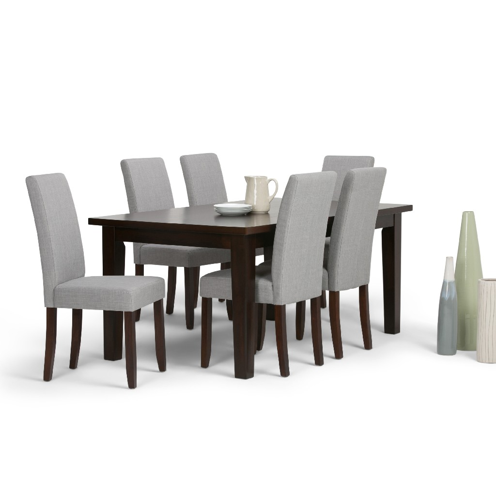 Acadian Contemporary 7 Pc Dining Set with 6 Upholstered Parson Chairs in Dove Grey Linen Look Fabric and 66 inch Wide Table - Simpli Home AXCDS7-ACA-DGL