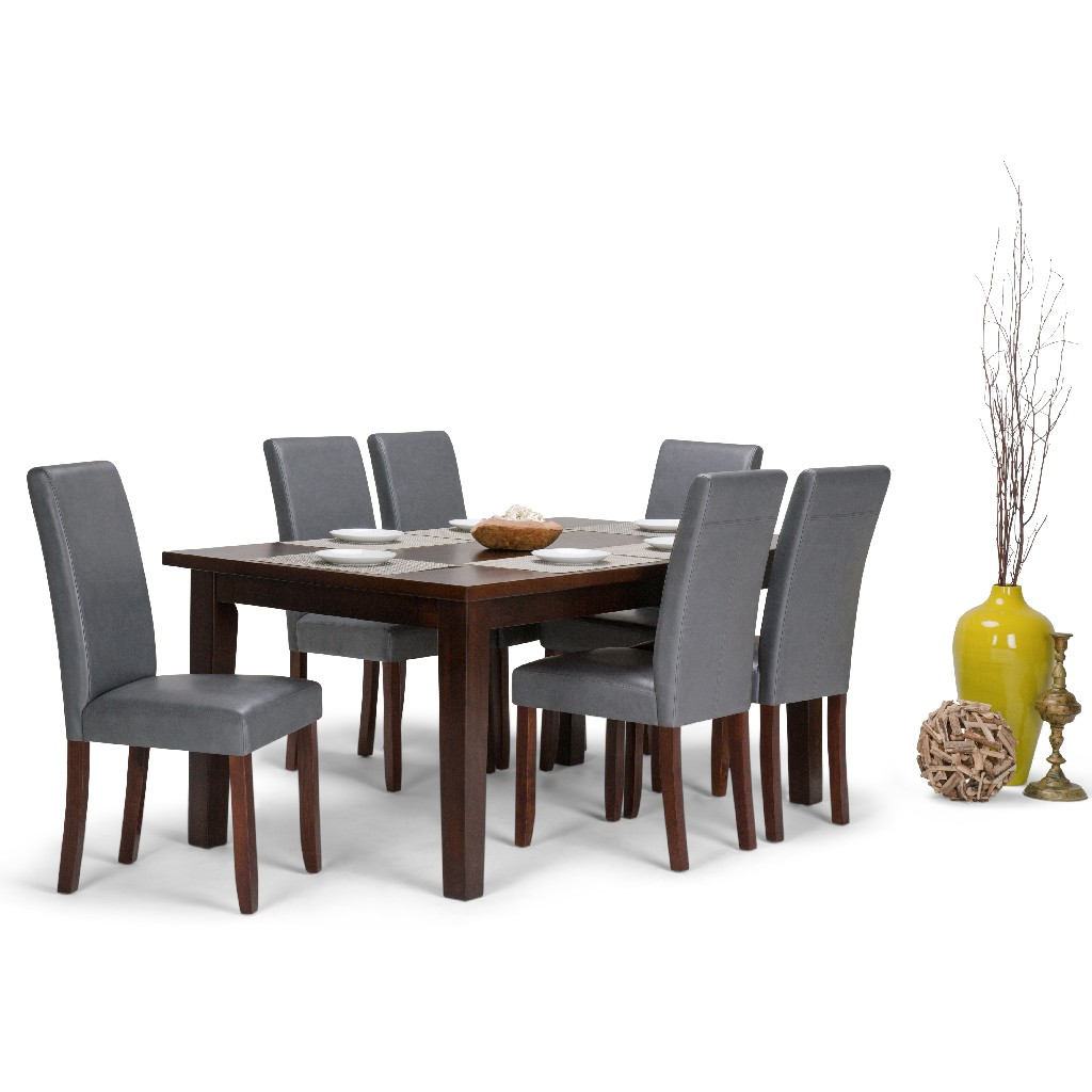 Acadian Contemporary 7 Pc Dining Set with 6 Upholstered Parson Chairs in Stone Grey Faux Leather and 66 inch Wide Table - Simpli Home AXCDS7-ACA-G
