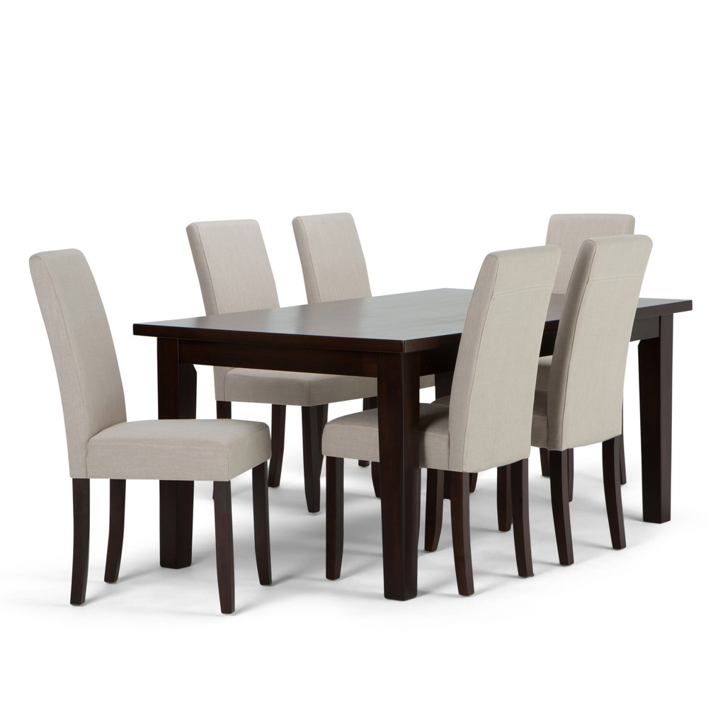 Acadian Contemporary 7 Pc Dining Set with 6 Upholstered Parson Chairs in Light Beige Linen Look Fabric and 66 inch Wide Table - Simpli Home AXCDS7-ACA-LBL
