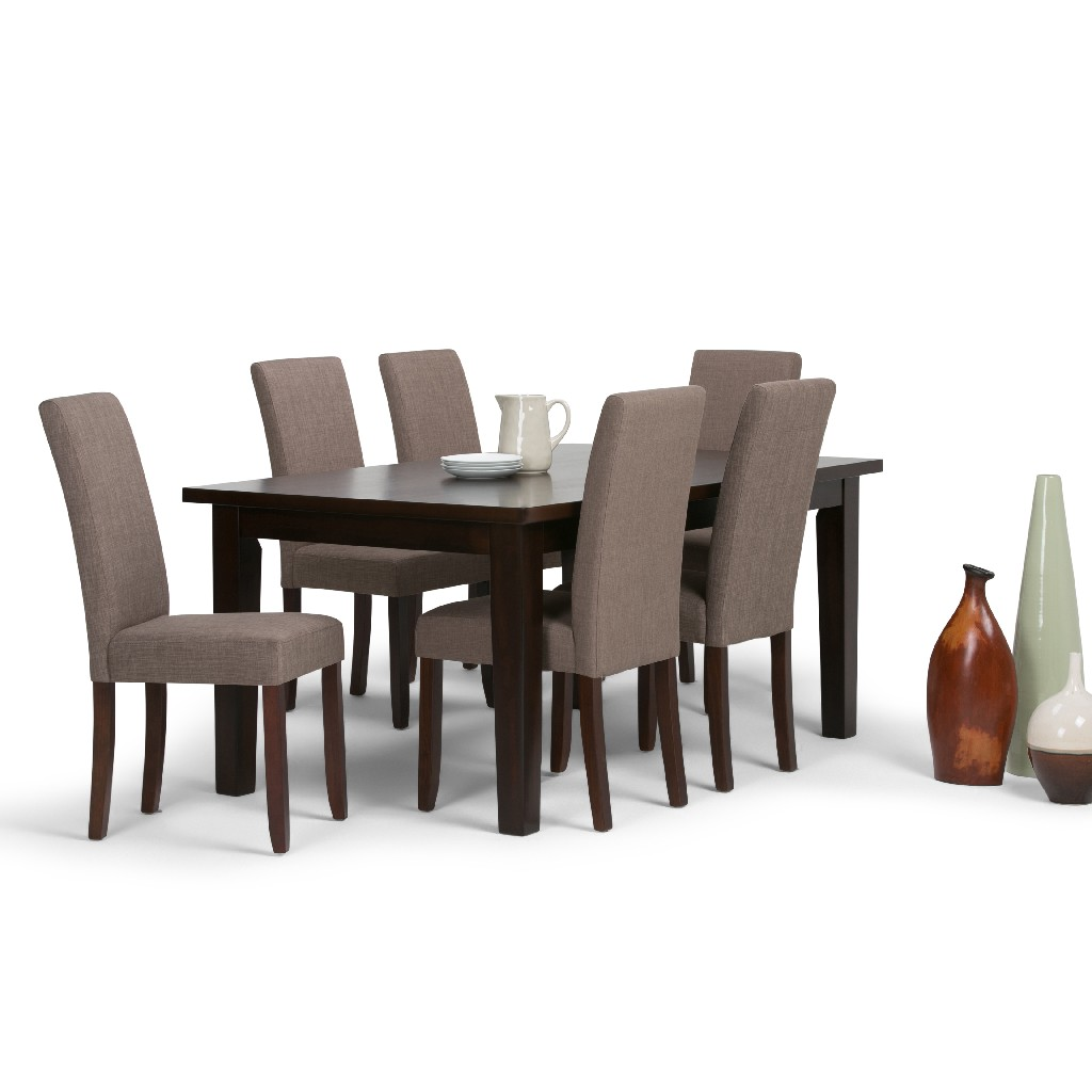 Acadian Contemporary 7 Pc Dining Set with 6 Upholstered Parson Chairs in Light Mocha Linen Look Fabric and 66 inch Wide Table - Simpli Home AXCDS7-ACA-LML