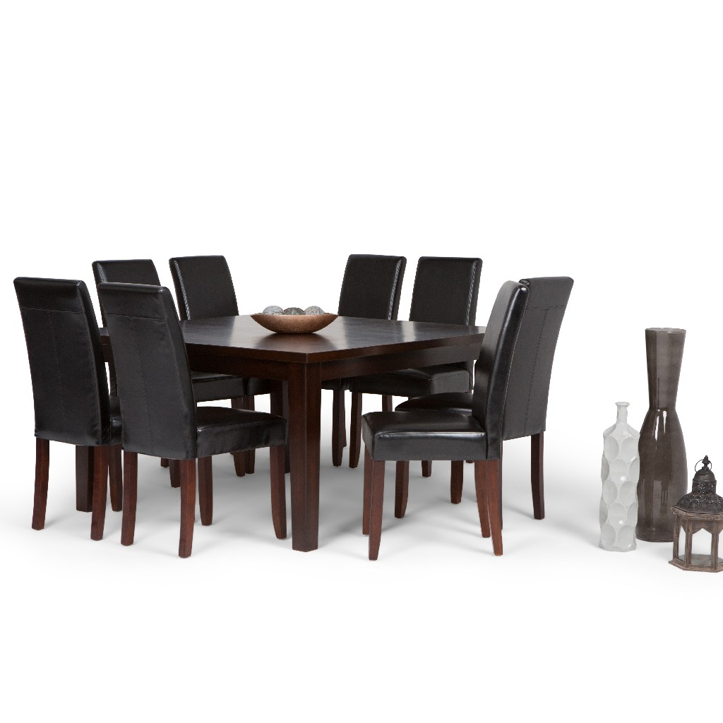Acadian Contemporary 9 Pc Dining Set with 8 Upholstered Parson Chairs in Midnight Black Faux Leather and 54 inch Wide Table - Simpli Home AXCDS9-ACA-BL