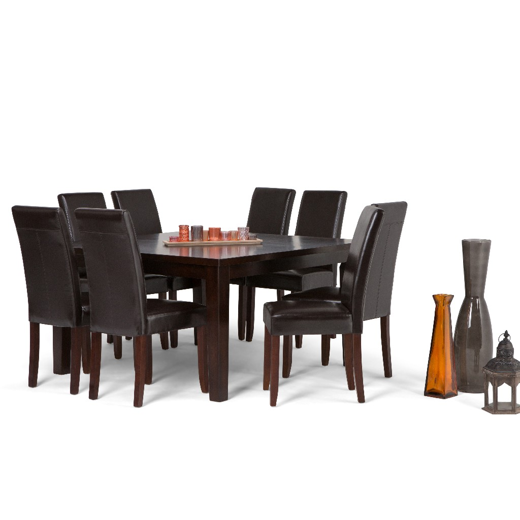 Acadian Contemporary 9 Pc Dining Set with 8 Upholstered Parson Chairs in Tanners Brown Faux Leather and 54 inch Wide Table - Simpli Home AXCDS9-ACA-BR