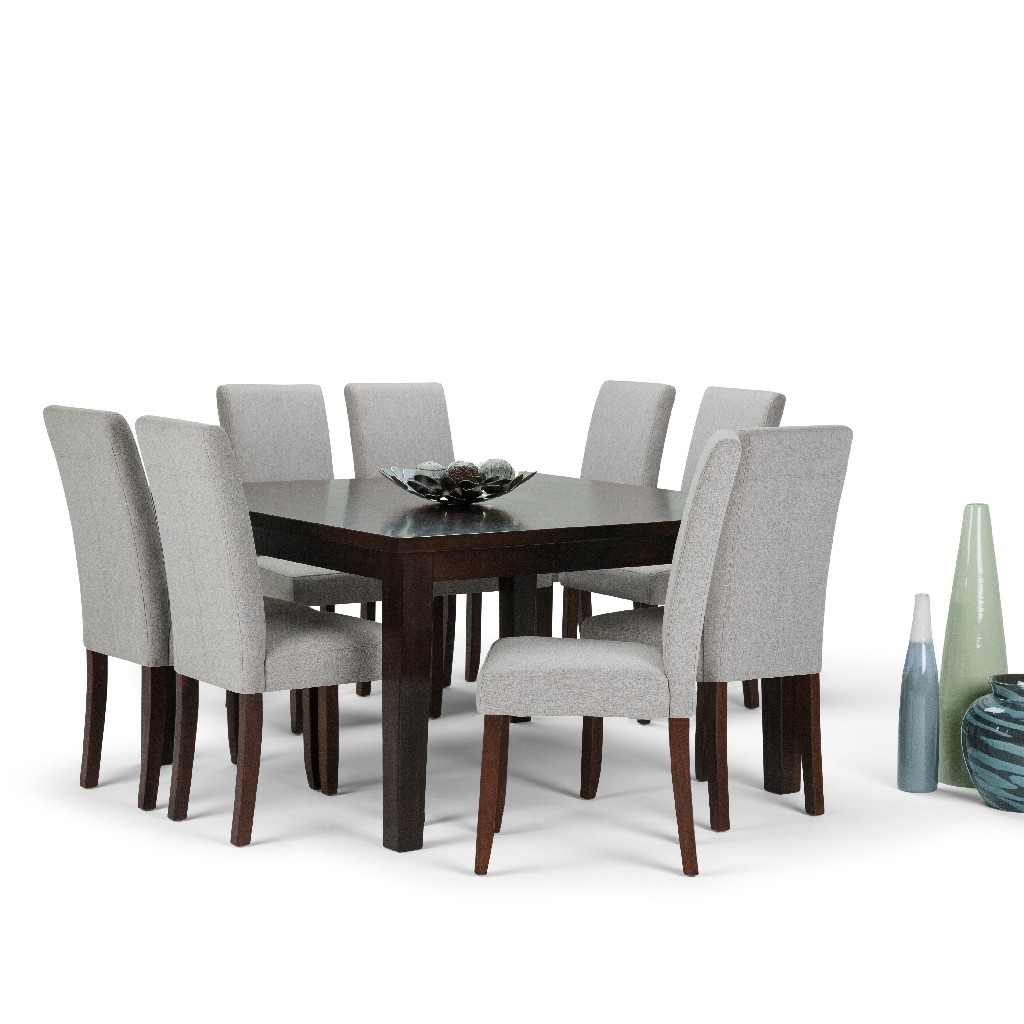 Acadian Contemporary 9 Pc Dining Set with 8 Upholstered Parson Chairs in Cloud Grey Linen Look Fabric and 54 inch Wide Table - Simpli Home AXCDS9-ACA-CLG