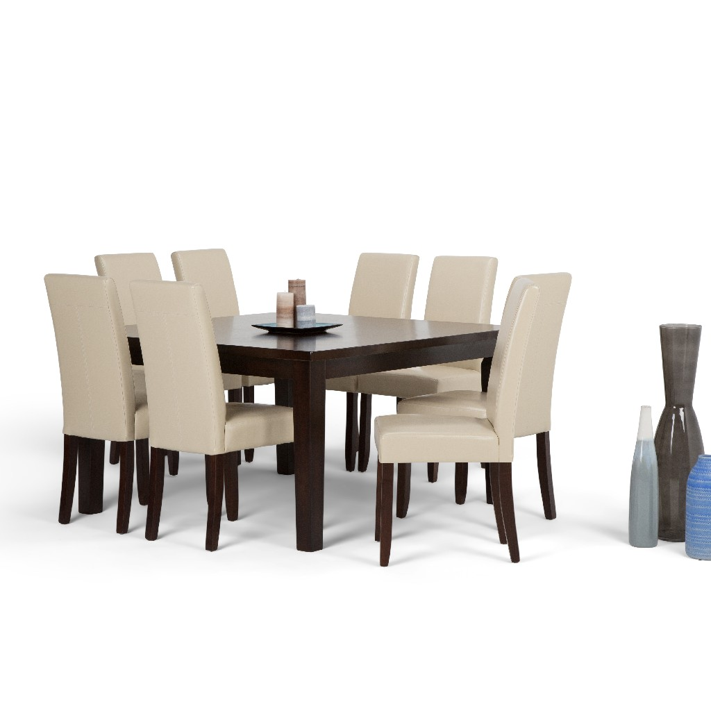 Acadian Contemporary 9 Pc Dining Set with 8 Upholstered Parson Chairs in Satin Cream Faux Leather and 54 inch Wide Table - Simpli Home AXCDS9-ACA-CR