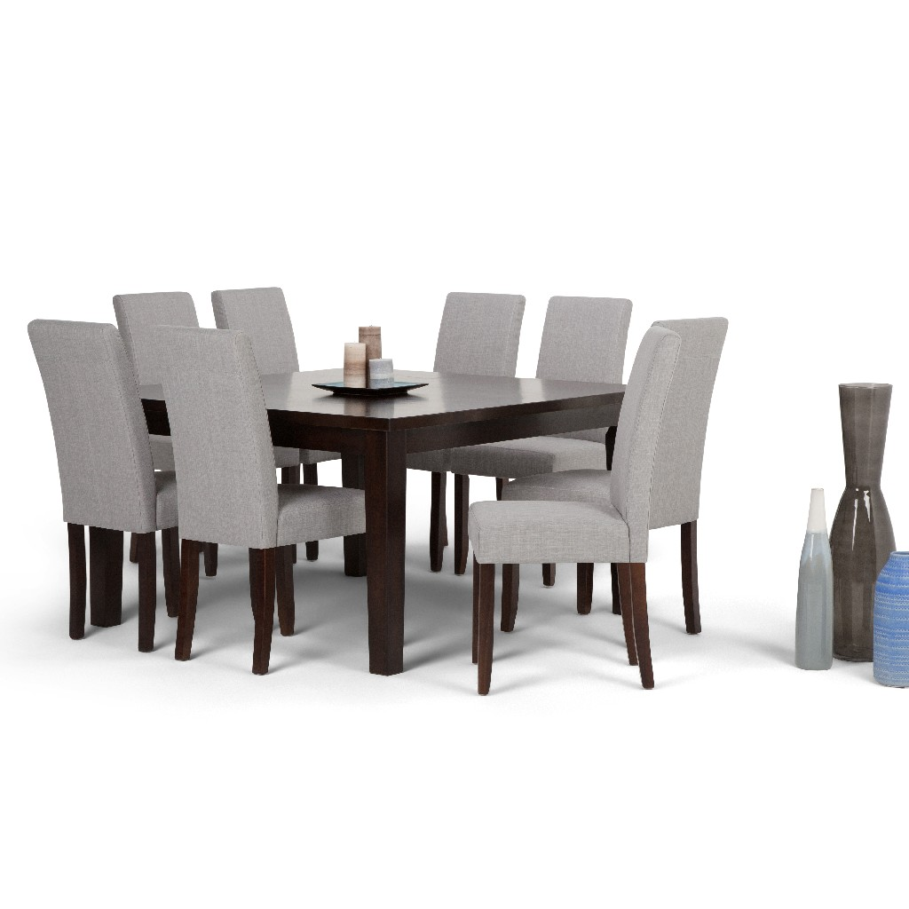 Acadian Contemporary 9 Pc Dining Set with 8 Upholstered Parson Chairs in Dove Grey Linen Look Fabric and 54 inch Wide Table - Simpli Home AXCDS9-ACA-DGL