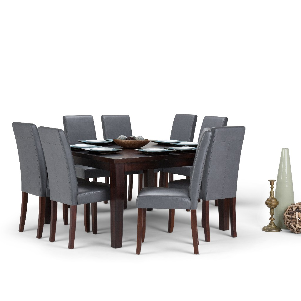 Acadian Contemporary 9 Pc Dining Set with 8 Upholstered Parson Chairs in Stone Grey Faux Leather and 54 inch Wide Table - Simpli Home AXCDS9-ACA-G