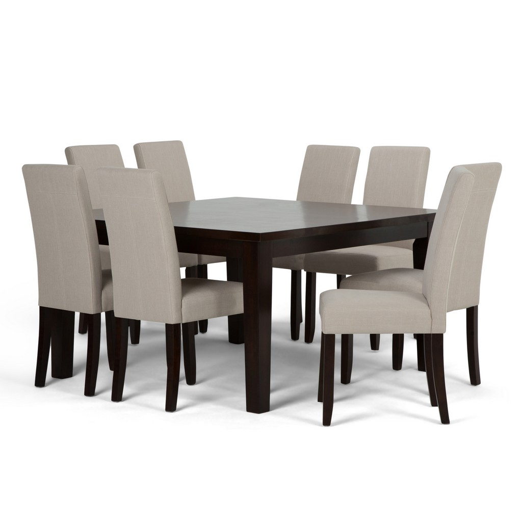Acadian Contemporary 9 Pc Dining Set with 8 Upholstered Parson Chairs in Light Beige Linen Look Fabric and 54 inch Wide Table - Simpli Home AXCDS9-ACA-LBL