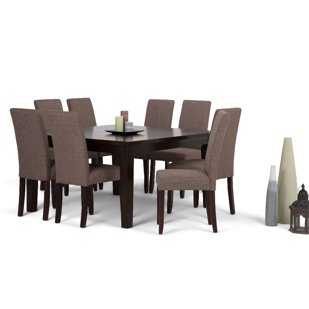 Acadian Contemporary 9 Pc Dining Set with 8 Upholstered Parson Chairs in Light Mocha Linen Look Fabric and 54 inch Wide Table - Simpli Home AXCDS9-ACA-LML