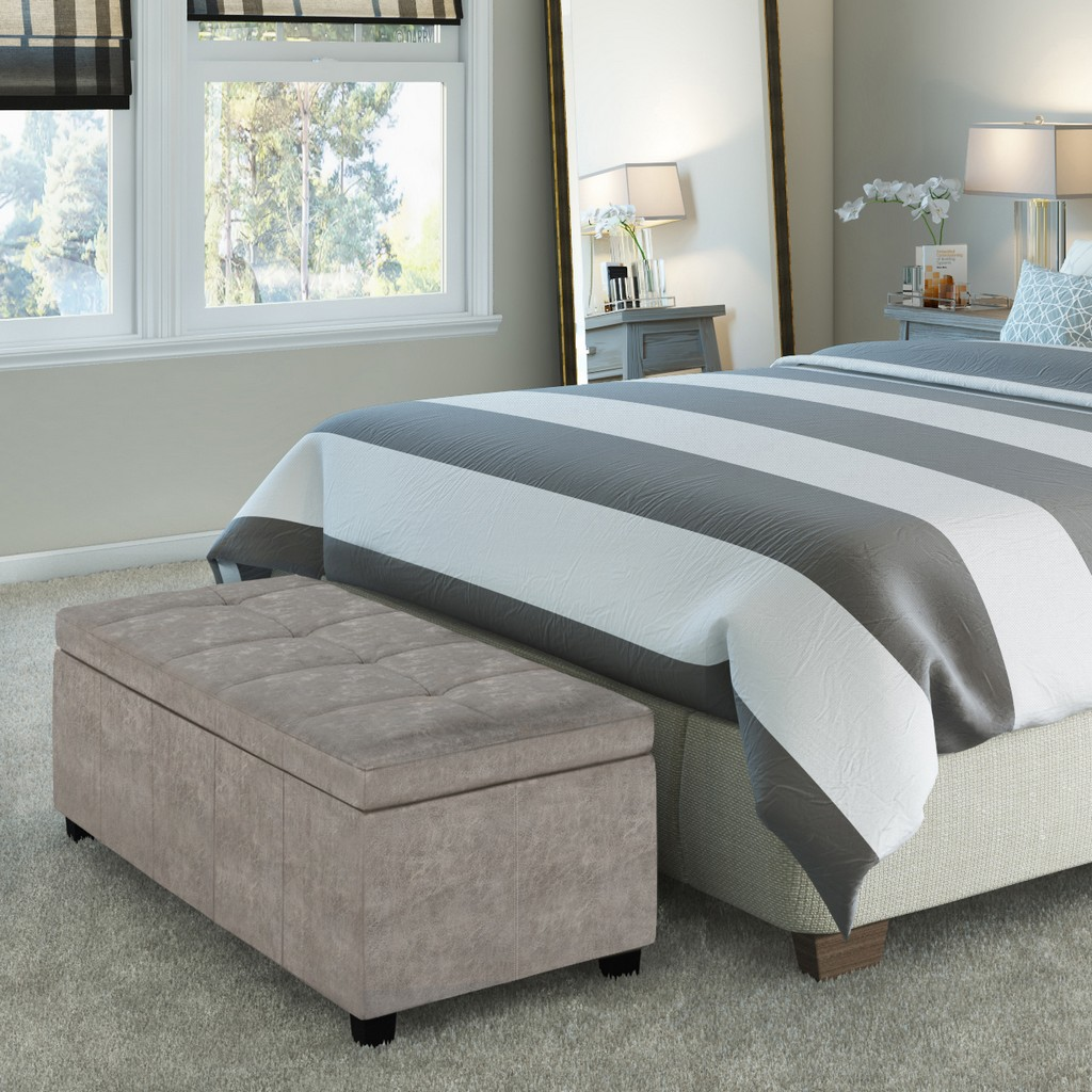 Simpli Home Castleford 48 inch Wide Transitional Rectangle Storage Ottoman in Distressed Grey Faux Air Leather - AXCOT-241-DTP
