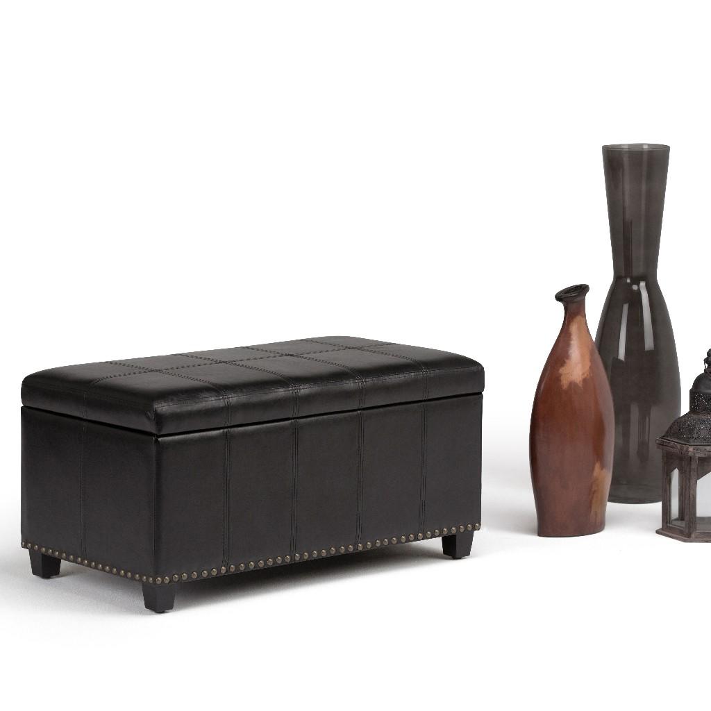 Amelia Storage Ottoman Bench in Midnight Black - Simpli Home AXCOT-257-BL