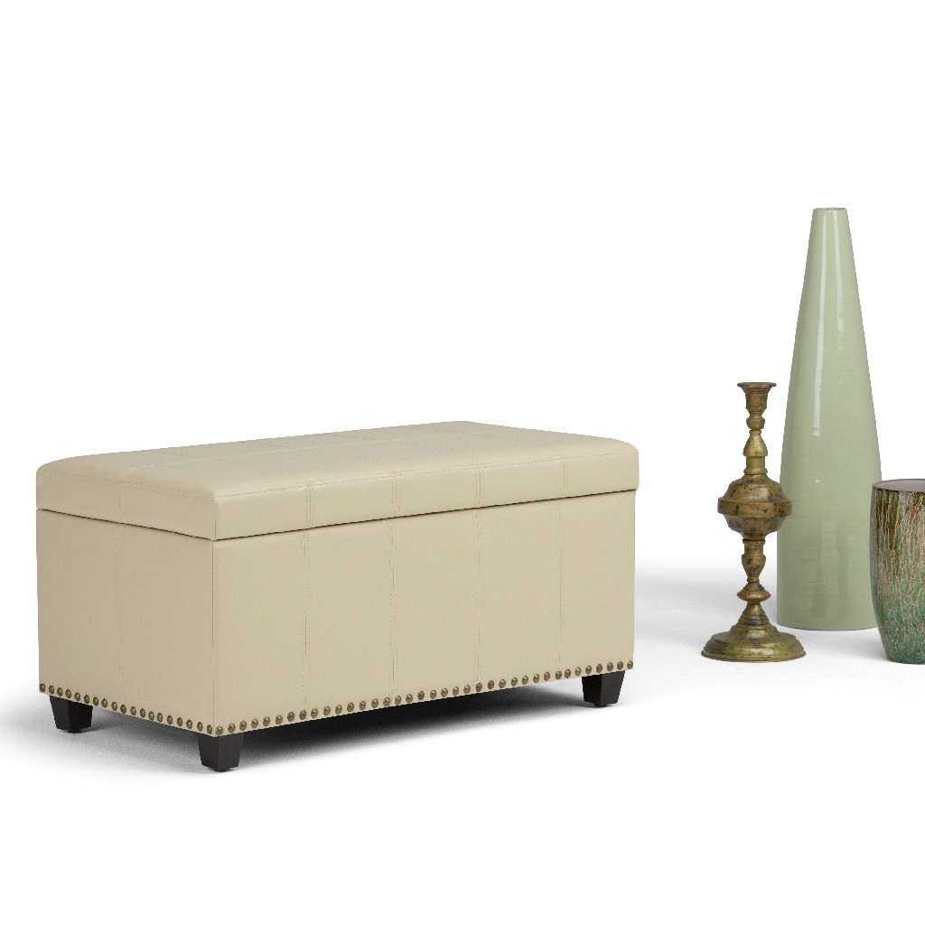 Amelia 34 inch Wide Traditional Rectangle Storage Ottoman Bench in Satin Cream Faux Leather - Simpli Home AXCOT-257-CR